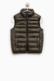 Padded patterned waistcoat with zip, Green, hi-res