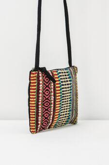 Ethnic patterned shoulder bag, Blue/Orange, hi-res