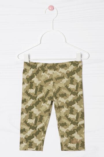 Leggings stretch con strass, Verde militare, hi-res