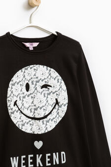 Printed cotton stretch T-shirt, Black, hi-res