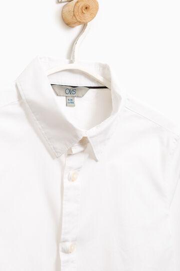 Slim fit, stretch cotton shirt, White, hi-res
