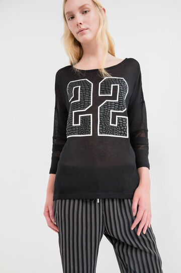Patterned stretch sweatshirt, Black, hi-res