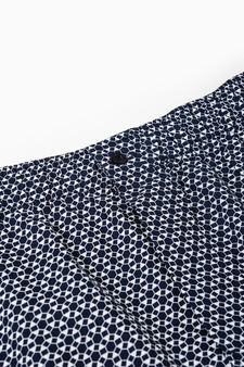 Cotton boxer shorts with geometric pattern, Navy Blue, hi-res