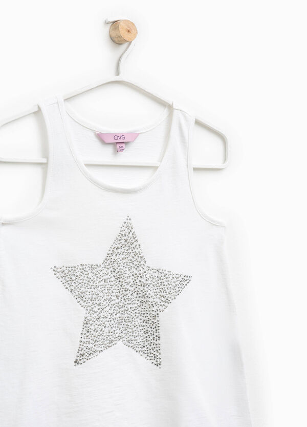 100% cotton top with diamantés | OVS