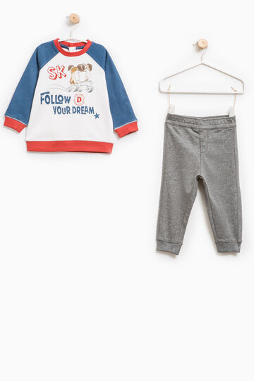 Tracksuit in 100% cotton with print, Milky White, hi-res
