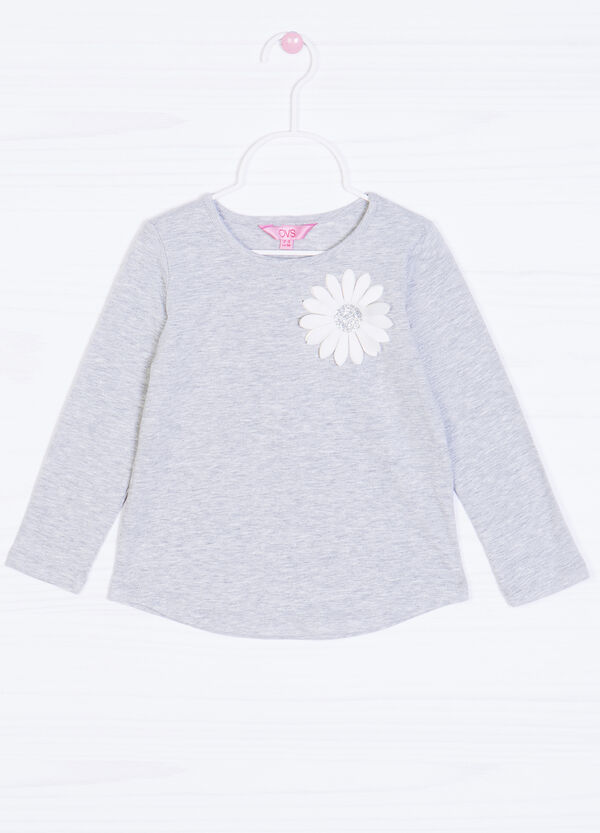 Stretch cotton T-shirt with flower on chest | OVS