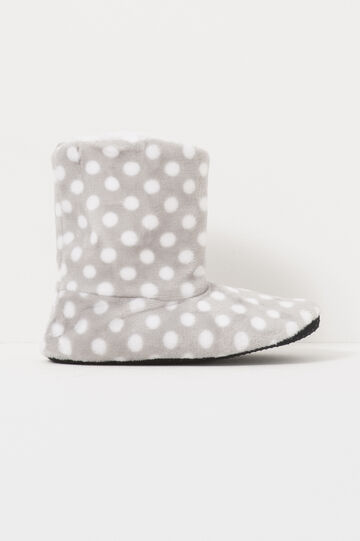 Polka dot slipper boots, White/Grey, hi-res