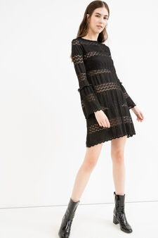Short openwork dress with bell-bottom sleeves, Black, hi-res