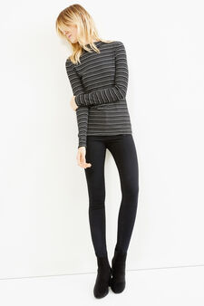 Striped T-shirt in stretch viscose with high neck, Black/White, hi-res