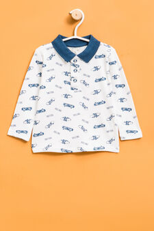 Skateboard pattern polo shirt, White, hi-res