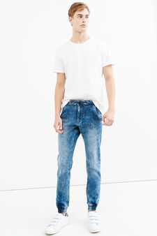 Mis-dyed-effect loose-fit stretch jeans, Denim, hi-res