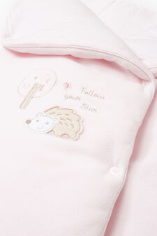 Baby's sleep sack in 100% cotton with embroidery, Pink, hi-res