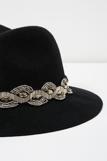 Wide-brimmed hat with beads and diamantés, Black, hi-res