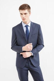 Slim-fit, solid colour elegant suit in wool, Dark Blue, hi-res