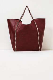 Solid colour handbag with chain, Red, hi-res
