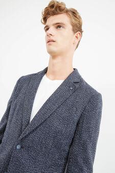 Elegant wool stretch patterned jacket, Blue, hi-res