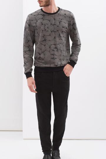 Denim-cut trousers in stretch fleece, Black, hi-res