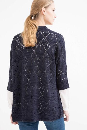 Cardigan traforato tricot, Blu navy, hi-res