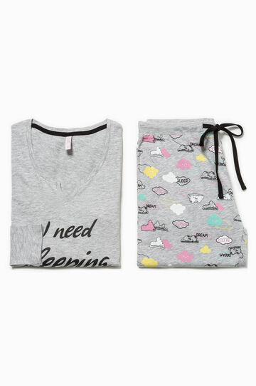 Patterned and printed mélange pyjamas, Grey Marl, hi-res