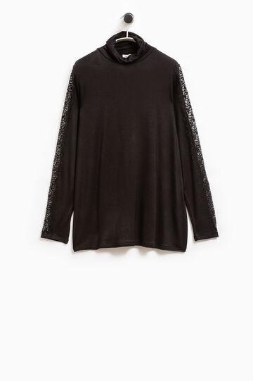 Smart Basic stretch lace T-shirt, Black, hi-res