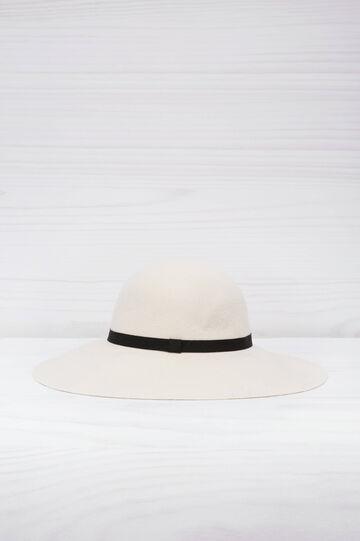 Cappello tesa larga tinta unita, Bianco panna, hi-res