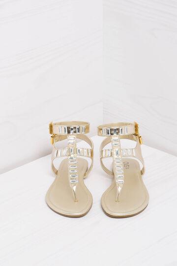 Thong sandals with diamantés., Golden Yellow, hi-res