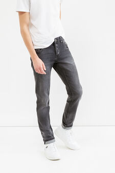 Faded effect slim-fit stretch jeans, Black, hi-res
