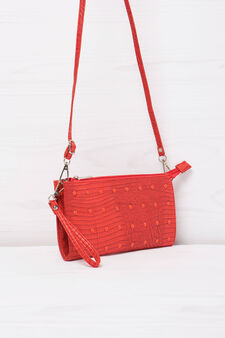 Snakeskin clutch bag with studs, Red, hi-res