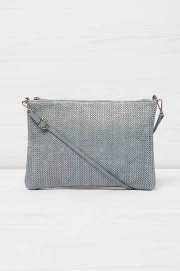 Solid colour, woven design shoulder bag, Grey, hi-res