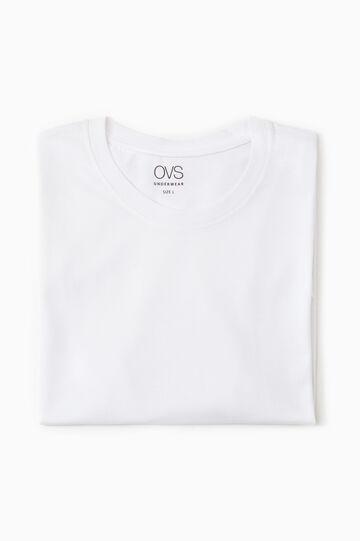 Cotton undershirt with crew neck, White, hi-res