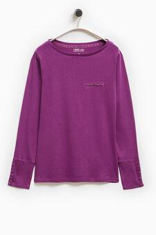 Smart Basic T-shirt with welt pocket, Purple, hi-res