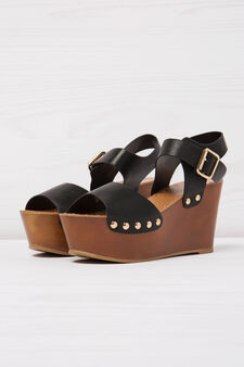 Sandals with wedge and studs, Black, hi-res