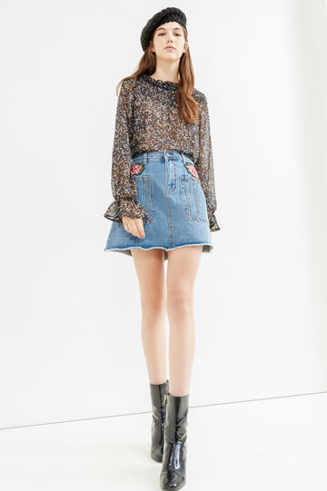 Semi-sheer blouse with all-over print, Black, hi-res