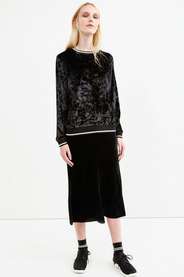 Solid colour velvet midi skirt, Black, hi-res