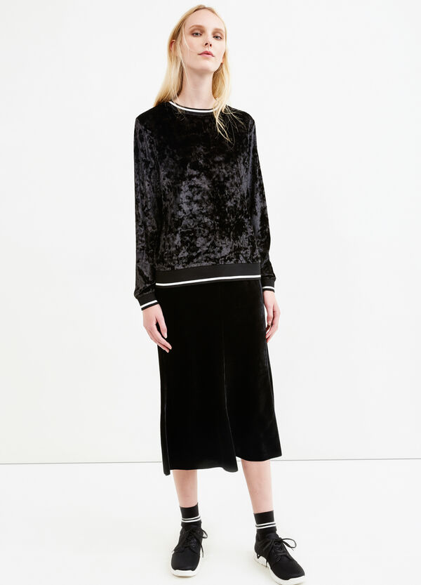 Falda midi en terciopelo de color liso | OVS