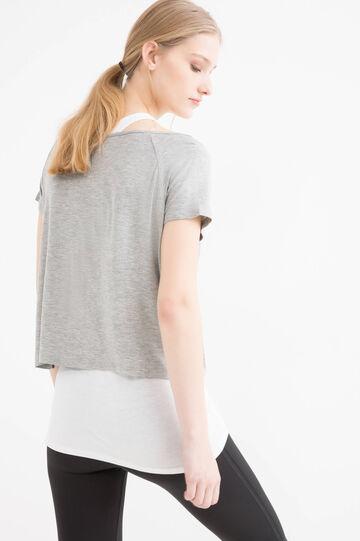 Faux layered cropped gym T-shirt, Grey Marl, hi-res