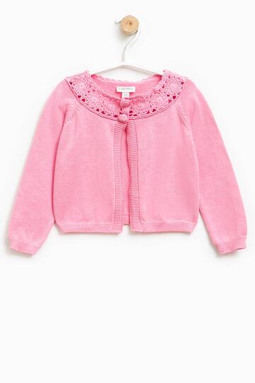 Cárdigan en punto tricot con diseño calado, Rosa coral, hi-res