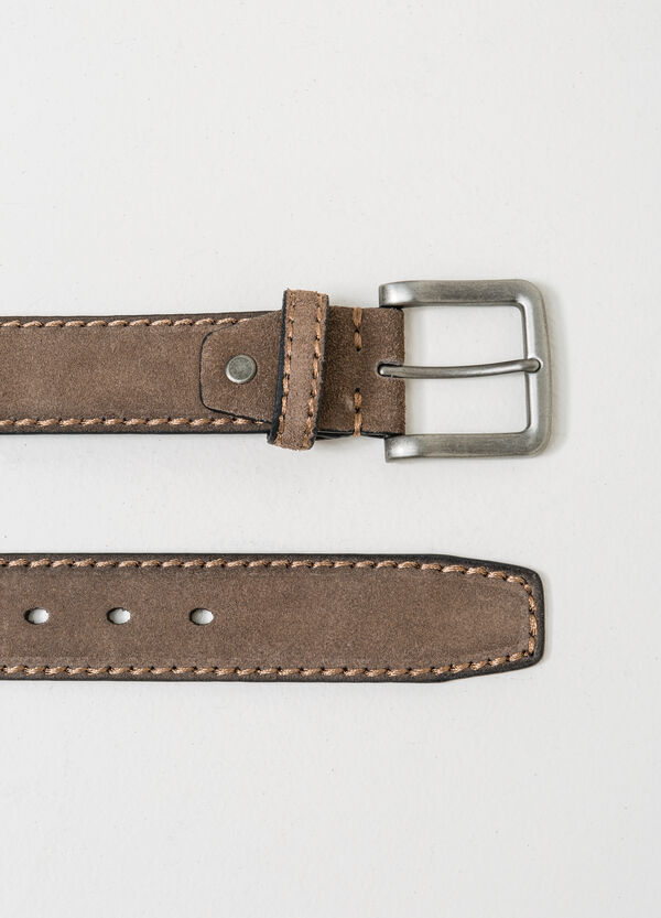 Real leather belt with square buckle | OVS