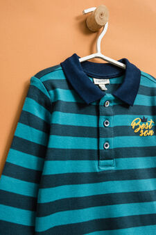Striped polo shirt in 100% cotton, Teal Green, hi-res