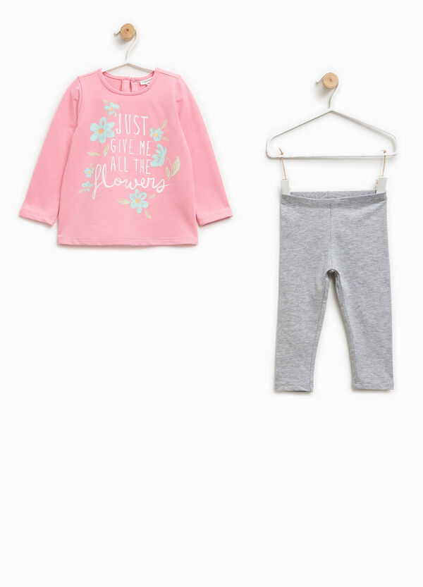 Cotton outfit with glitter print | OVS