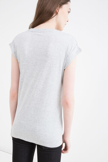 Printed T-shirt in 100% cotton, Grey Marl, hi-res
