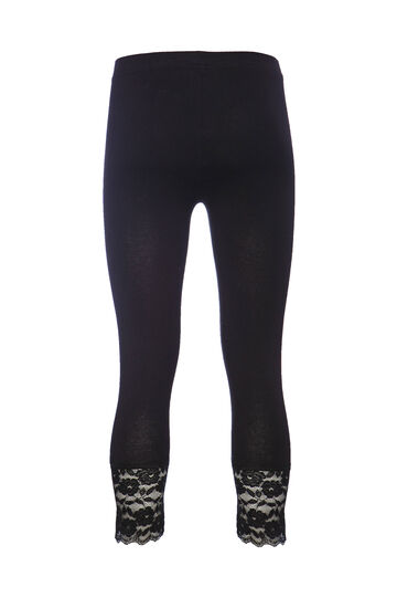 Leggings cotone pizzo Smart Basic, Nero, hi-res