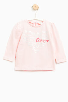 Cotton T-shirt with glitter print, Pink, hi-res