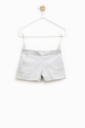 Cotton and linen shorts with patch, Light Grey, hi-res