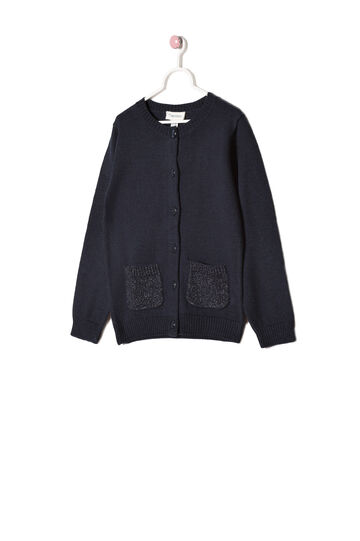 Cotton blend button cardigan, Navy Blue, hi-res