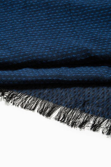 Jacquard scarf with micro-diamond pattern, Navy Blue, hi-res