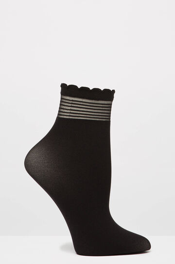 Solid colour stretch pop socks, Black, hi-res
