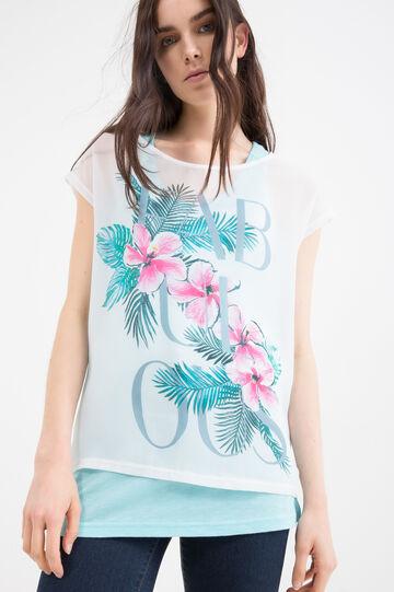 T-shirt misto cotone stampa, Bianco latte, hi-res