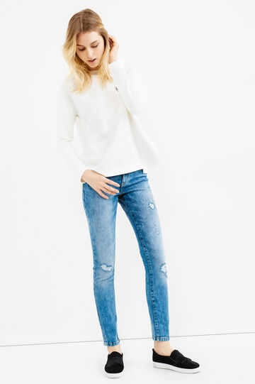 Ripped, skinny-fit stretch jeans, Medium Wash, hi-res