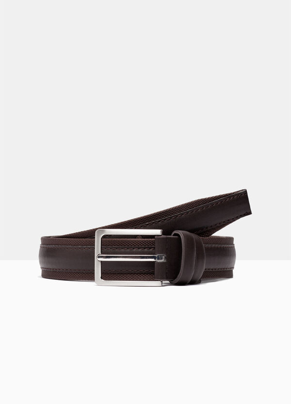 Fabric belt with faux leather appliqués | OVS